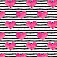 watercolor hearts || stripes fabric by littlearrowdesign on Spoonflower - custom fabric