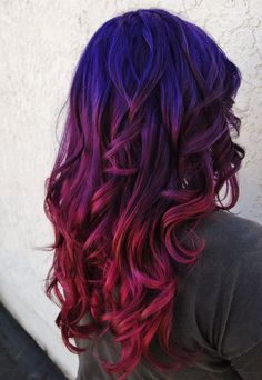 Purple to Red Ombre Hair Color, Purple, Color, Purple, Ombre - Frisuren Dye My Hair, New Hair, Red Ombre Hair, Purple Ombre, Blue And Red Hair, Violet Ombre, Purple Nails, Dark Purple, Pink Purple Blue Hair