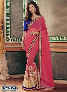 Glitzy Pink and Beige Coloured Georgette Embroidered Saree
