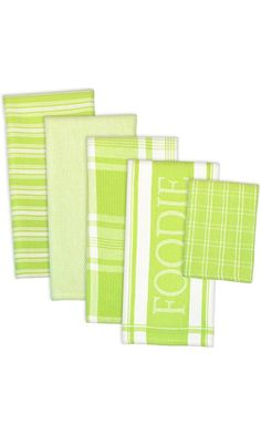 "DII 100% Cotton, Ultra Absorbent,  Washing, Drying, Foodie Kitchen Dishtowel 18 x 28""& Dishcloth 13 x 13"",  Set of 5-  Lime Best Price"