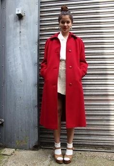 873e32e2dc2 ASOS Vintage 80 s wool red winter coat Red Winter Coat