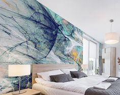 Artsy - Abstract Lines - Adhesive Wallpaper - Removable Wallpaper - Wall Sticker - Wall Mural - Customizable Wallpaper
