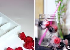 berry ice cubes in mason jar