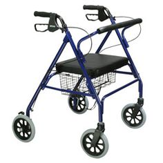 Drive Go-Lite Bariatric Steel 4-Wheel Rollator with Padded Seat - Blue - The Safe, Sturdy and Oversized Affordable Rollator - Rollators - MaxiAids