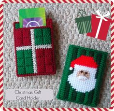 Plastic Canvas: Christmas Gift Card Holders (front and back of 2 different patterns), e-PatternsCentral.com (http://www.e-patternscentral.com/detail.html?prod_id=3582&cat_id=744&criteria=); Note: I changed the colors and some details on the original designs.