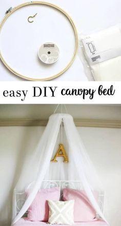 Diy canopy bed girls bedroom diy crafts ikea crafts ideas of diy crib canopy Girls Canopy, Diy Canopy, Canopy Beds, Bunk Bed, Kids Bed Canopy, Canopy Bedroom, Bed Tent, Little Girl Canopy Bed, Tulle Canopy