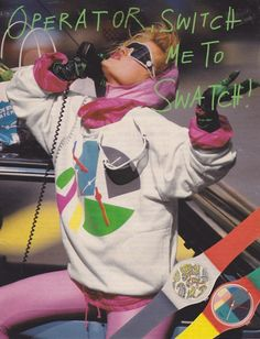 "My jr high book was based on the swatch. Titled ""swatch the time go by"". 80s Ads, 1980s, Swatch, American Apparel, Nostalgia, Moda Retro, 80s And 90s Fashion, Retro Fashion, New Wave"