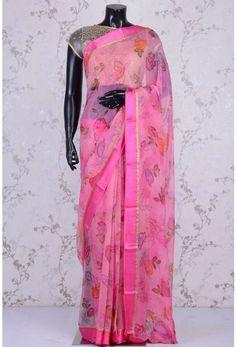 Blended Chiffon Zari-Rose Pink-Printed-WK1088 Floral Print Sarees, Printed Sarees, Floral Prints, Pink Roses, Kimono Top, Chiffon, Tops, Women, Fashion