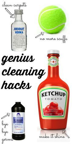 Genius cleaning hacks that will blow your mind! How you can use ketchup, vodka and even tennis balls to keep your house clean and shiny. Seriously - some of the best cleaning tips I've seen - even natural, chemical-free cleaning ideas so your kids can help too!