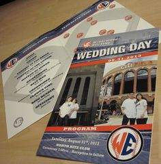 Our Game Day Baseball Wedding Program is a great way to round out your wedding theme. Our graphics staff can guide you through development of a unique keepsake. #baseballwedding #stwdotcom