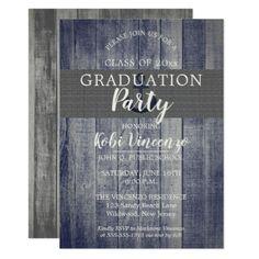 Rustic Beach Wood Nautical Graduation Party Card - graduation gifts giftideas idea party celebration