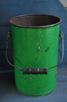 Vintage Estate Find Primitive Metal Bucket EX Tall Green Paint Folk Art Decor | eBay