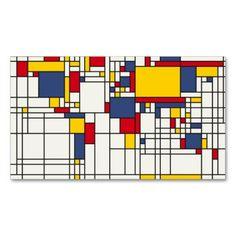 世界地図の抽象芸術のモンドリアンのスタイル スタンダード名刺