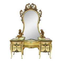 1920s Italian Baroque Painted Vanity Dresser