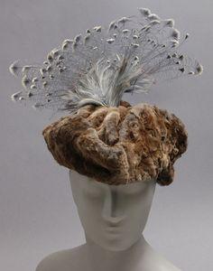 A fantastic fur and feather Edwardian hat, 1914-1915, via The Philadelphia Museum of Art. #vintage #hats #fashion