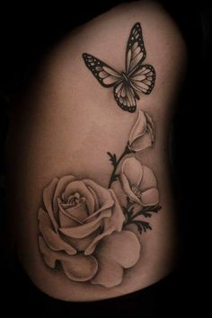 The Best Girly Tattoos Black And White Lovely Designs with Meaning & Tips. Tattoos for girls are no longer the novelty they used to be. Many women now get inked, as the term goes. Here we have best and beautiful The Best Girly Tattoos Black And White Realistic Butterfly Tattoo, Rose And Butterfly Tattoo, Butterfly Tattoo Meaning, Butterfly Tattoo On Shoulder, Butterfly Tattoos For Women, Butterfly Tattoo Designs, Infinity Butterfly Tattoo, 3d Rose Tattoo, White Flower Tattoos