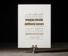 Modish gold foil stamped wedding invitations with black letterpress ink - designed by @Beth Barr Beth Barr for Bella Figura