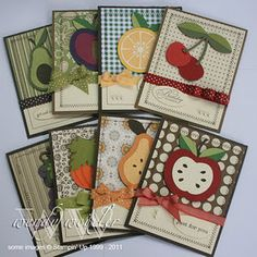 Fruits and Veggies cards using Cricut Preserves by Wendybell at Wickedly Wonderful Creations Scrapbooking, Scrapbook Cards, Decoupage, Cricut Cards, Stampin Up Cards, Cute Cards, Diy Cards, Stencil, Fall Cards