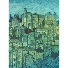"Alcazaba (blue variant), CollagraphBlue variant artists proofs total 6. Size: 21"" x 20"""