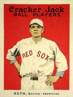 Babe Ruth Cracker Jack baseball card early in his career with the Red Sox #Baseball #Vintage #BabeRuth