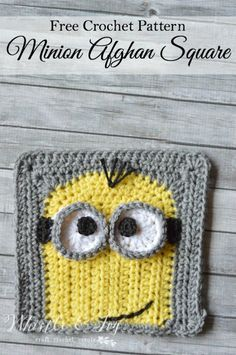 """Kevin"" Minion Crochet Afghan Square - Whistle and Ivy Crochet Patron, Knit Or Crochet, Cute Crochet, Crochet Motif, Crochet Crafts, Crochet Projects, Crochet Baby, Crotchet, Minion Crochet Patterns"