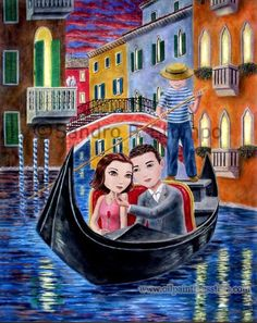 <3 Hand-painted Oil Painting - Cute romance - gondola in Venice
