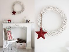 Hermosa corona de bejuco pintada en blanco y con una bella estrella en rojo.