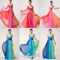 Almost the right colors... womens Dress Wedding Bridesmaid Evening Party Formal Prom Bridal Gown Long Dress