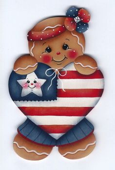 Patriotic Heart Gingerbread Painting E-Pattern