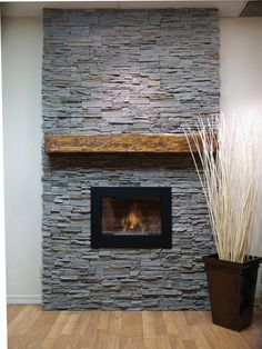 Fireplace with panel stone veneers- Project of Stone Selex Inc.
