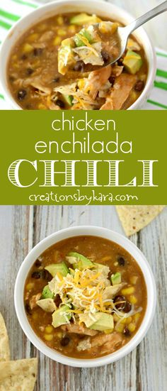 Easy Chicken Enchilada Chili - this easy chicken chili recipe is sure to become a family favorite. It only takes a few minutes of prep time, and it is packed with flavor! #chili #chickenchili #easychili via @creationsbykara.com