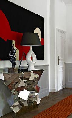 Console Cristalloide designed by Hervé Van der Straeten. Sculpture and lamp by Georges Jouve