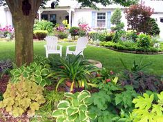 Creating vignettes in the garden using vintage chairs orbenches can add color in a drab spot or interest where it is difficult to grow flowering plants.