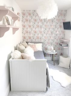 Girl's 'Chill Out' Room - GeorgieRose interior design cheltenham Pink Bedroom Decor, Room Ideas Bedroom, Small Room Bedroom, Gray Bedroom, Bedroom Inspo, Trendy Bedroom, Rose Gold And Grey Bedroom, Grey Bedroom With Pop Of Color, Daybed Room
