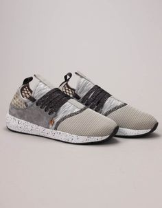 These MocLau triple mesh trainers from Djinns in grey have grey and white linear marl neoprene socks with light green mesh and grey suede panels. Free UK delivery on orders over Gift Card Deals, Chunky Shoes, Designer Kids Clothes, Lace Up Shoes, Adidas Sneakers, Mesh, Footwear, Mens Fashion, Shoe Bag