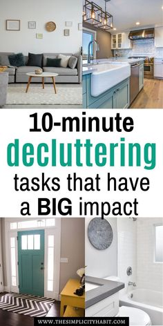 Easy decluttering tasks that will have big results - The Simplicity Habit Declutter Home, Declutter Your Life, Organizing Your Home, Organizing Tips, House Cleaning Tips, Cleaning Hacks, Getting Rid Of Clutter, Clutter Free Home, Home Management