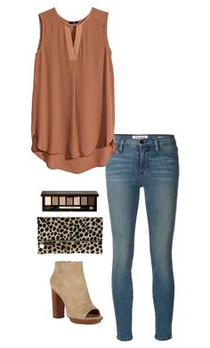 """""""leopard clutch"""" by kcunningham1 ❤ liked on Polyvore featuring moda, Frame Denim, H&M, Clare V. e Bobbi Brown Cosmetics"""