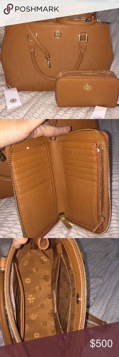 Tory Burch Robinson matching set In excellent condition, used one time. It. It be use as a crossbody  Won't trade trying to get my money back Tory Burch Bags Satchels