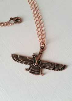 Farvahar angel necklace  Antique copper by pinkdiamonddesign