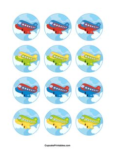Airplane cupcake toppers. Use the circles for cupcakes, party favor tags, and more. Free printable PDF download at http://cupcakeprintables.com/toppers/airplane-cupcake-toppers/