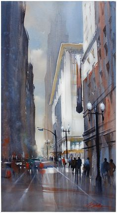 and Broadway - Los Angeles by Thomas W. Schaller Watercolor ~ 30 inches x… Art Thomas, Watercolor Architecture, Watercolor Artists, Art Graphique, Urban Landscape, Art Plastique, Urban Art, Art Photography, Street Art