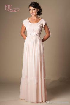 b79ac4520 beach bridesmaid dresses on sale at reasonable prices, buy Blushing Pink  Long Formal Modest Chiffon Beach Bridesmaid Dresses With Cap Sleeves Beaded  Waist ...