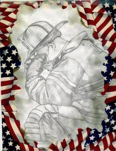 Fireman: I have always been into drawing. I did this right after September and I guess you could call it my personal therapy. Please note, I did not Firefighter Home Decor, Volunteer Firefighter, Firefighter Drawing, Firefighter Clipart, Fireman Quilt, How To Draw Fireworks, Firefighter Photography, Patriotic Images, Chandelier Art