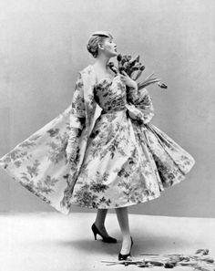Model in taffeta heather print dress and coat by Christian Dior, photo by Sante Forlano, 1955