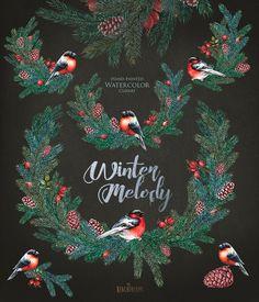 Christmas Watercolor decor. Spruce briar cones by ReachDreams