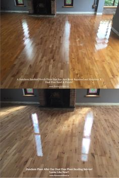 A Repaired Junckers Smoked Beech Floor, Before and After Our Dust Free Floor Sanding Service. Solid Wood Flooring, Hardwood Floors, Dining Table, It Is Finished, Smoke, Projects, Free, Home Decor, Wood Floor Tiles