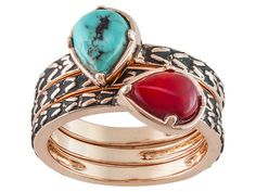 Timna Jewelry Collection(Tm)Pear Shape Cabochon Turquoise and Coral Co