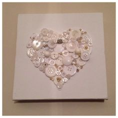 Beautiful handmade button art white heart with by Barlowsbuttons