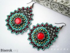 Photo tutorial for these earrings. The instructions are in Russian.