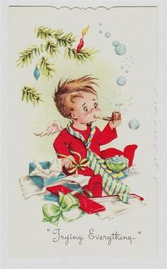 Vintage Angel Boy Blowing Bubbles Christmas Card